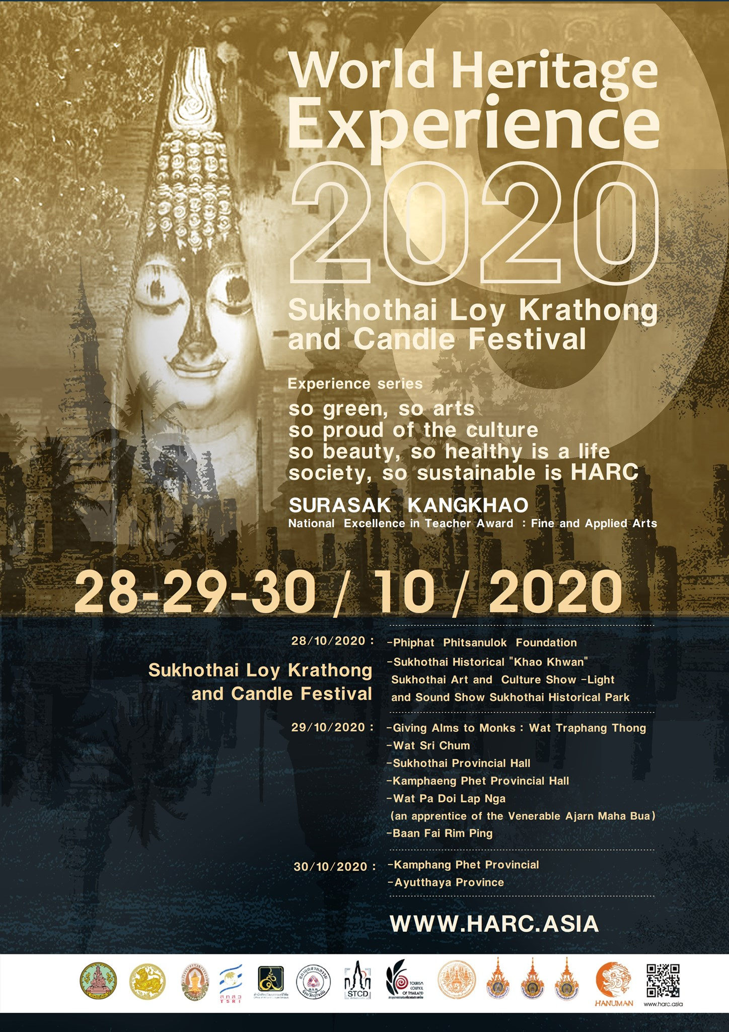World Heritage Experience 2020. Sukhothai Loy Krathong and candle festival